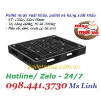 Pallet nhựa xuất khẩu 1200x1000x145mm màu đen