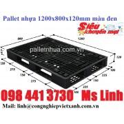 Pallet nhựa 1200x800x120mm màu đen