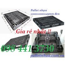 Pallet nhựa đen 1100x1100x125mm ( Thanh lý )
