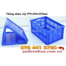 Thùng nhựa xếp đan lưới D595 x R400 x H305mm