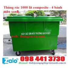 Xe đẩy rác 1000 lít composite 4 bánh
