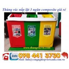 Thùng rác nắp lật 3 ngăn composite