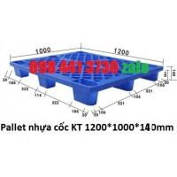 Pallet cốc 1200x1000x140mm màu xanh