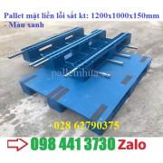 Pallet nhựa mặt liền màu xanh 1200x1000mmx150mm