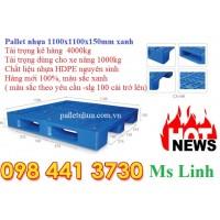 Pallet nhựa 1100x1100x150mm xanh 4 tấn