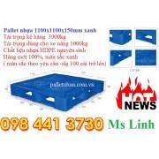 Pallet nhựa 1100x1100x150mm xanh tải 3000kg