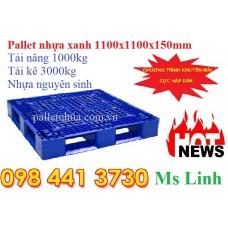Pallet nhựa 1100x1100x150mm xanh sale