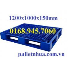 Pallet nhựa 1200x1000x150mm (tải động-tải tĩnh: 0.8-2.5 tấn)