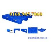 Pallet nhựa 1200x1000x150mm lỗi sắt (tải động-tải tĩnh: 2.4-5 tấn)