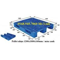 Pallet nhựa 1200x1000mmx160mm màu xanh (mới)