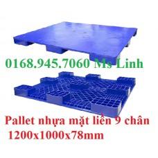 Pallet nhựa mặt liền 1200x1000mmx78mm