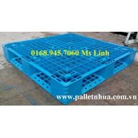 Pallet nhựa 1100x1100mmx150mm màu xanh biển (mới)