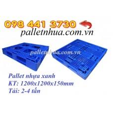 Pallet nhựa 1200x1200x150mm màu xanh