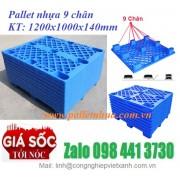 Pallet nhựa 9 chân – Pallet cốc, pallet 9 chân gù