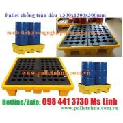 Pallet nhựa chống tràn dầu 1300x1300x300mm