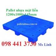 Pallet nhựa mặt liền 1200x1000x145mm 9 chân