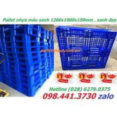 Pallet nhựa màu xanh 1200x1000x150mm