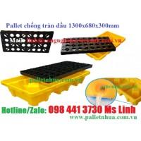 Pallet nhựa chống tràn dầu 1300x680x300mm