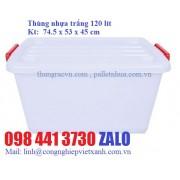 Thùng nhựa trắng đa nâng 120 lít