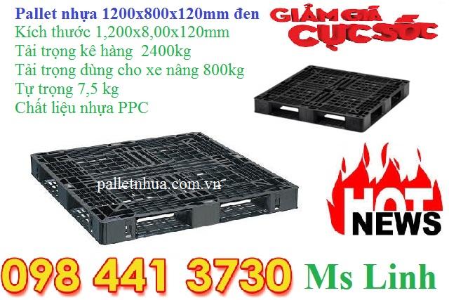 Pallet nhựa xuất khẩu 1200x800x120mm đen
