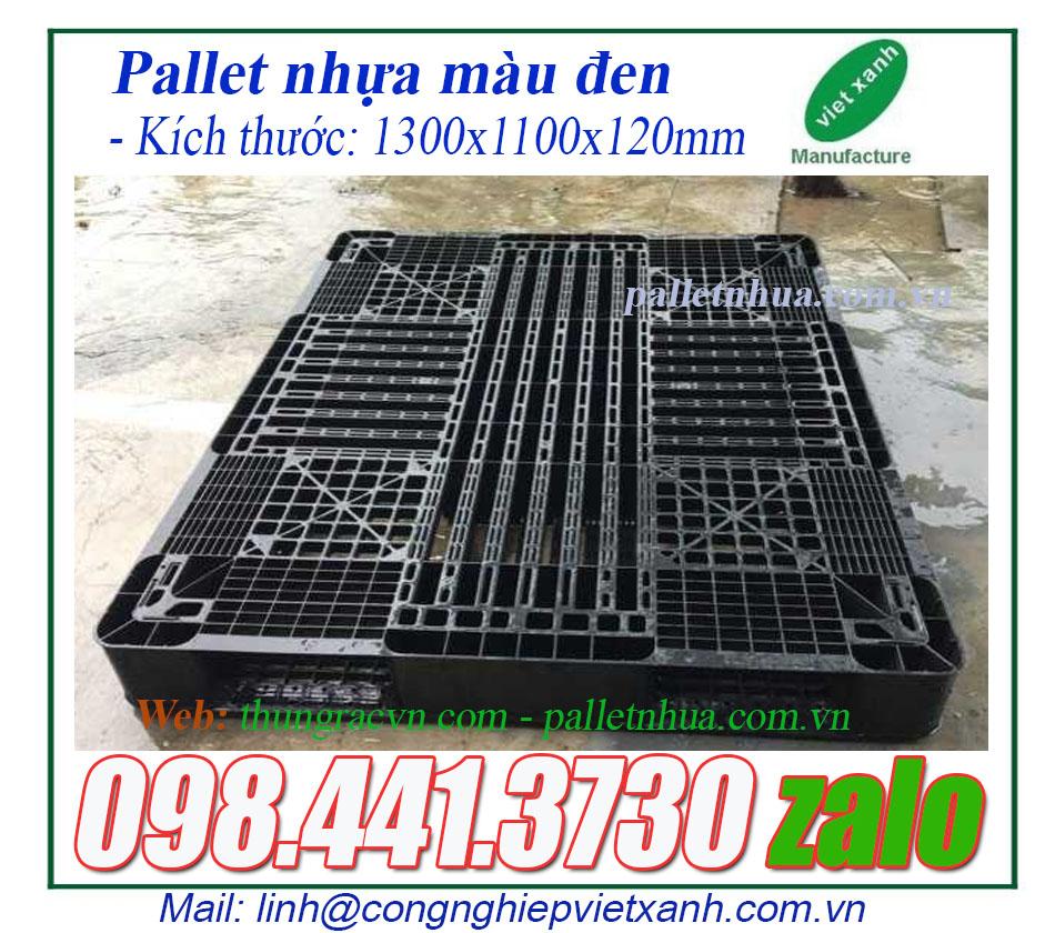Pallet nhựa màu đen xuất khẩu 1300x1100x120mm
