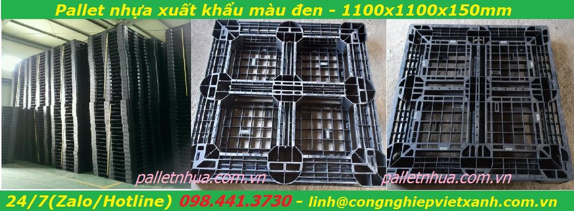 /></h4>  Pallet nhựa đen 1100x1100x150 mm - Kích thước1,100x1,100x150mm - Tải trọngkê hàng3000kg - Tải trọng dùng cho xe nâng 1000kg - Tự trọng 11.3 kg - Chất liệu nhựa PPC Thích hợp dùng cho xuất khẩu kê hàng hoá và các kho hàng. <h4><a rel=