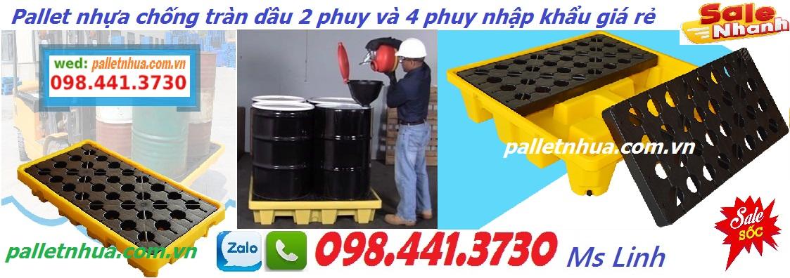 /></h4> <h4>Pallet nhựa chống tràn dầu 2 phuy 1300x680x300mm<br />- Chất liệu nhựa PE<br />- Khả năng chịu tải: 1361 kg ( có thể dùng 2 phuy)<br />- Kích thước (LxWxH): 1300x680x300mm<br />- Có thể phù hợp với xe nâng cả hai bên<br />- màu sắc: màu vàng<br />- Thiết kế có phần xả đáy<br />- Xuất xứ hàng nhập khẩu<br />- Pallet nhựa chống tràn được sử dụng rộng rãi trong các xưởng sản xuất, các nhà máy khai thác dầu khí, hóa chất,<br /><a rel=