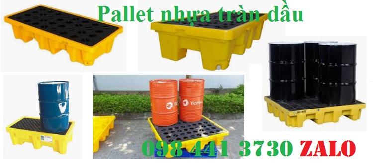 Pallet nhựa tràn dầu 2 phuy và 4 phuy giảm giá sập sàn hàng có sẵn