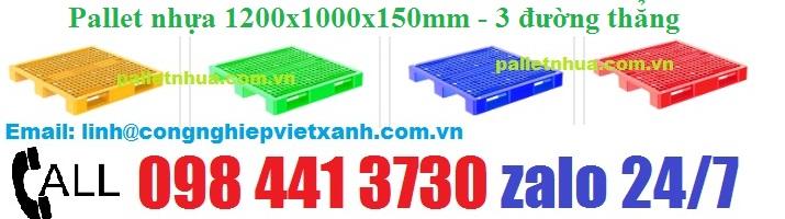 /></h4> <h4>* Thông tinPallet nhựa 1200 x1200 x 150mm một mặt 3 đường thẳng</h4> <h4>– Kích thước 1200 x 1200 x 150 mm</h4> <h4>– Số đường nâng: 4</h4> <h4>– Tải trọng kê hàng : 3000kg</h4> <h4>– Tải trọng khi dùng xe nâng: 1000kg</h4> <h4>– Kiểu pallet 1 mặt, 3 thanh ( 3 đường thẳng)</h4> <h4>– Nguyên liệu nhựa chính phẩm hdpe</h4> <h4>- Hàng mới 100%, có hàng sẵn. bảo hành theo tiêu chuẩn của nhà sản xuất ( công ty)</h4> <h4><a rel=