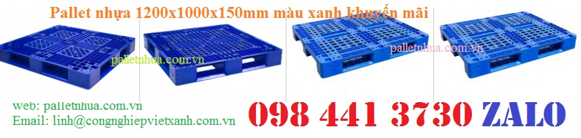/></h4> <h4>Pallet nhựa 1200x1000x150mm màu xanh 466<br />- Kích thước : (1200 x 1000 x 150) mm +/-2%<br />- Tải trọng động : 1000 kg<br />- Tải trọng tĩnh : 3000 kg<br />- Màu sắc xanh<br />- Chất liệu nhựa nguyên sinh hdpe<br />- Xuất xứ: Việt Nam<br /><a rel=
