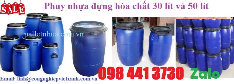 Phuy nhựa đựng hóa chất 30 lít và 50 lít khuyến mãi